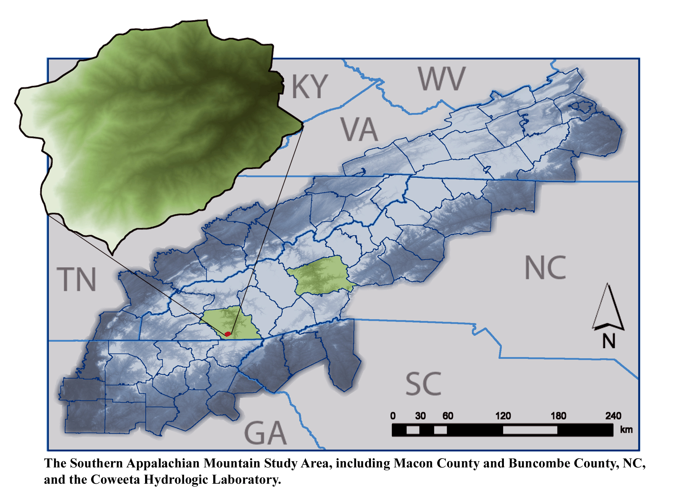 Location of the Coweeta Hydrologic Laboratory and Southern Appalachian Study Area